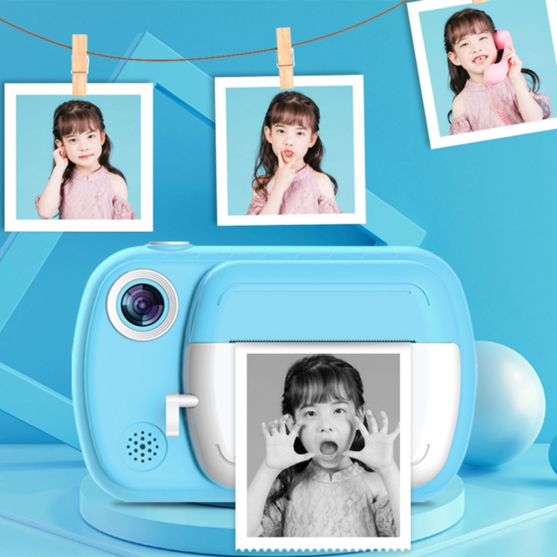 Instant Print Camera for Kids 1080P 3.5 Inch Color Sn Digital Video Camera with Paper Film and 32GB SD Card