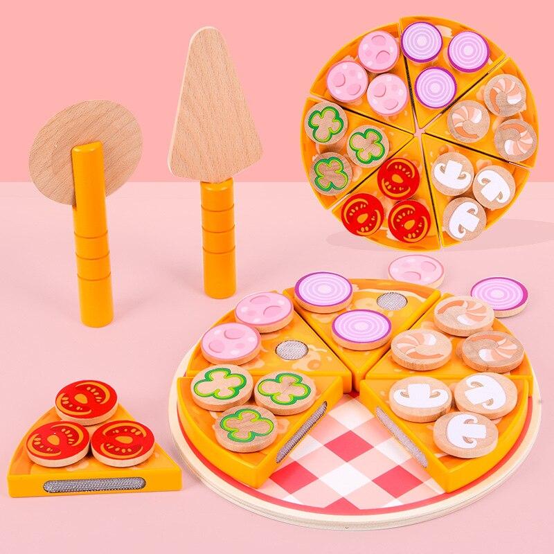 27 Uds Pizza juguetes de madera juguetes de cocina simulación niños cocina juguete para juego de imitación vegetal de la fruta con vajilla