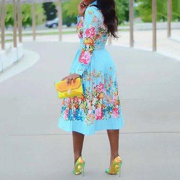 Autumn Long Sleeve Women Pleated Floral Print Dress 2019 Elegant Female Plus Size African Office Ladies Vintage Midi Dress Retro 3