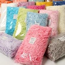 20g/50g/100g colorido rasgado crinkle papel rafia caixas de doces caixa de presente diy material de enchimento casamento decoração de casa