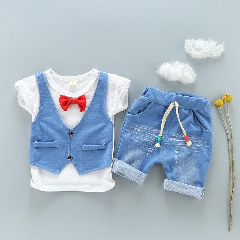 1 סט ילדים בני קיץ תלבושות 1-3 שנים בני פעוט ילדי תינוק בני תלבושות כותנה מגניב טי + מכנסיים קצרים מכנסיים בגדי סט מגניב