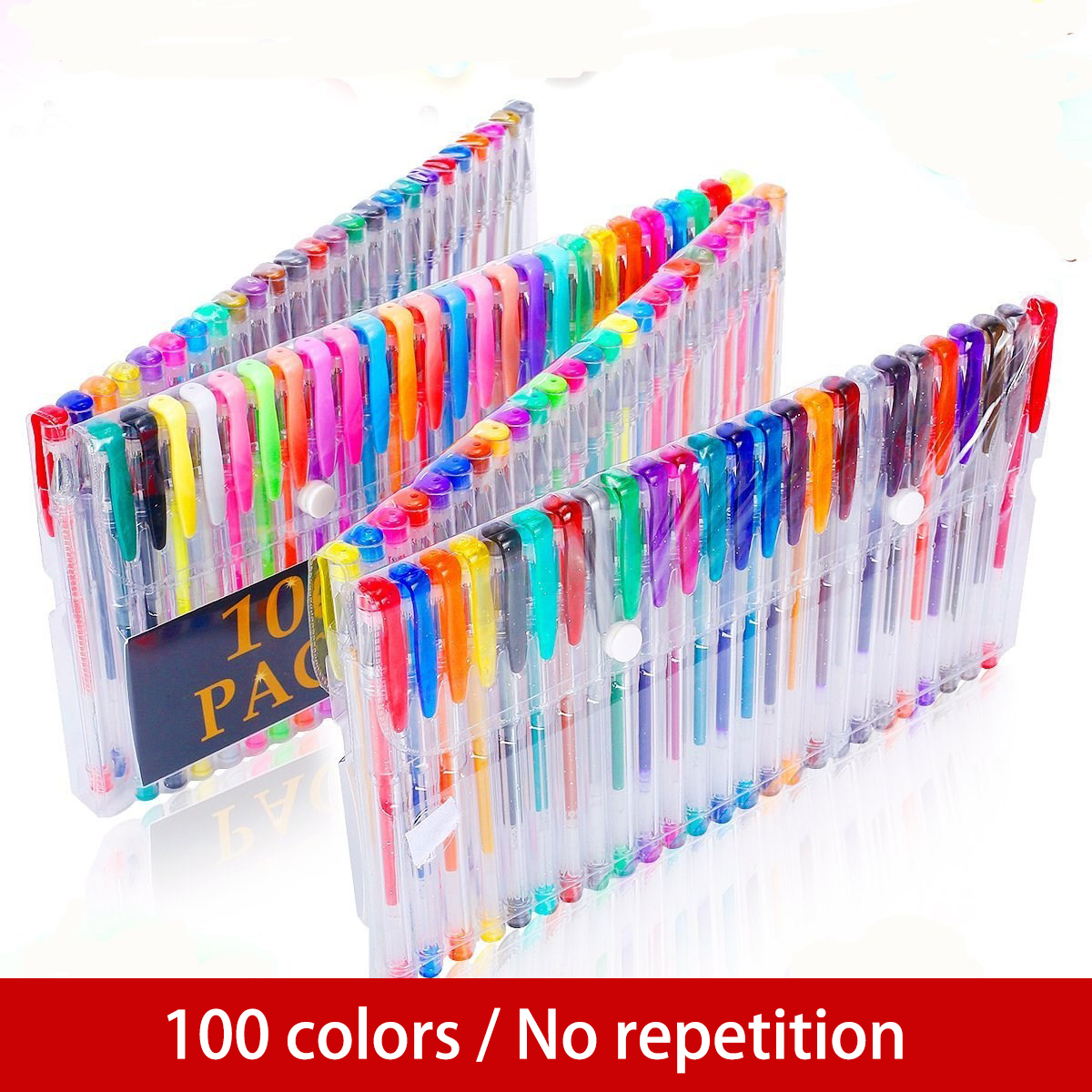 100 Colors Gel Pen Set Sketching Drawing Color Pens For School Office Stationery Metallic Pastel Neon Glitter Gel Pens