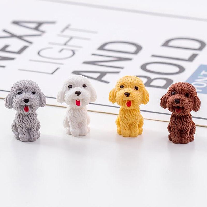 1pc Teddy Dog Eraser Kawaii Teddy Dog Eraser Cartoon Style Creative For Kids Funny Erasers Korean Stationery School Supplies