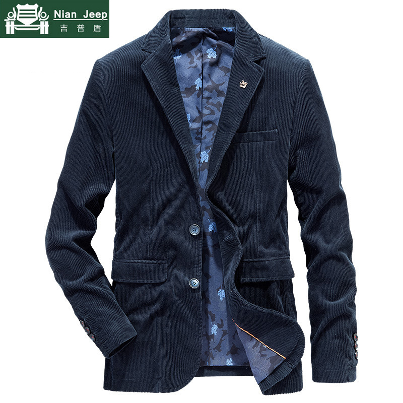 Brand Quality Business Blazer Men Spring Autumn Corduroy Casual Cotton Jacket Men Slim Fit Suit Male Size M-4XL Blazer Homme