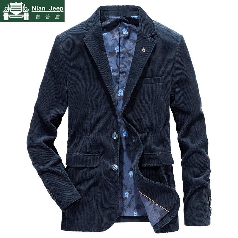 Brand Quality Business Blazer Men Spring Autumn Corduroy Casual Cotton Jacket Men Slim Fit Suit Male Size M-4XL Blazer Homme