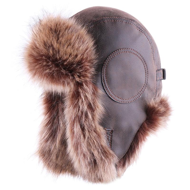 Russian Ushanka Men Winter Trapper Vintage Bomber Hat Pilot Aviator Trooper Leather Earflap Faux Fox Fur Warm Plush Snow Ski Cap