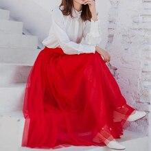 Spring Summer Red Extra Long Mesh Skirt Office Lady Vintage Expansion Bohemian Beach Travel High Street Elastic Waist Skirts