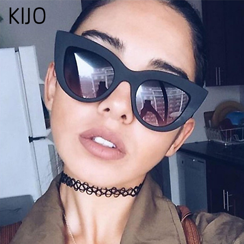 2020 Retro Thick Frame Cat Eye Sunglasses Women Ladies Fashion Brand Designer Mirror Lens Cateye Sun Glasses For Female