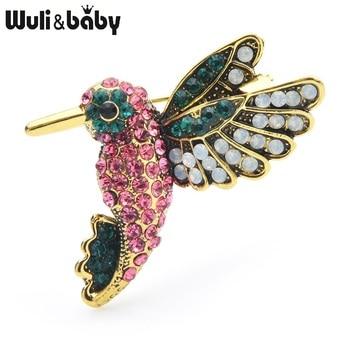 Wuli&baby Pink Rhinestone Humming Bird Brooches Women Alloy Cute Flying Bird Animal Brooch Pins Gifts enamel bird shape with rhinestone on branches brooches