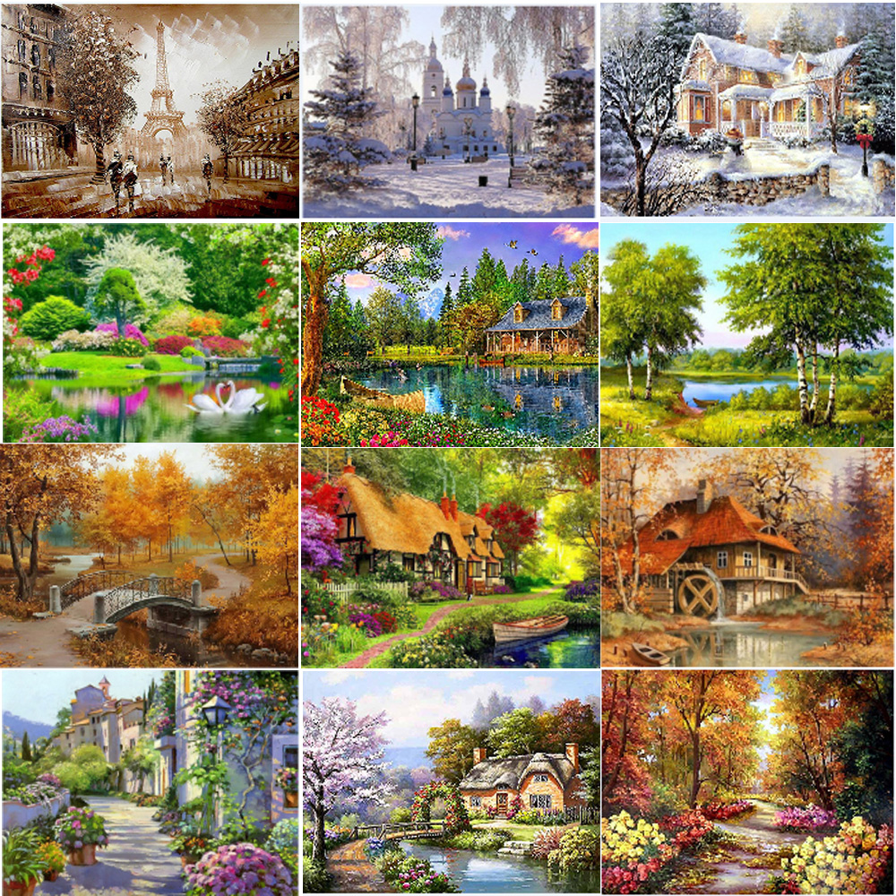 5D Diamond Painting Paste Cross-Stitch Mosaic-Pattern Animal-Horse Landscape Home DIY title=
