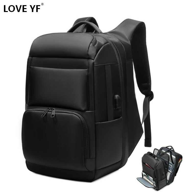 men's backpacks 17.5 inch laptop backpack USB Charging high capacity waterproof business travel backpack mochila mujer laptop