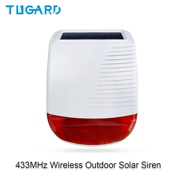 433MHz Wireless Outdoor Solar Siren Light Flash Strobe Waterproof Alarm Siren for Home Security Burglar WiFi GSM Alarm System owlcat buzz sfb 55 dc6 12v high decibel alarm siren security electronic burglar buzzer buzzerphone 55 50mm freeshipping