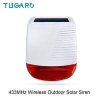 Tugard 433MHz inalámbrico al aire libre Solar sirena luz Flash luz estroboscópica sirena de alarma a prueba de agua para la casa antirrobo de seguridad sistema de alarma WiFi