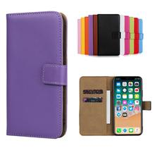 For iPhone 11 Pro Max Premium Genuine Leather Wallet Case with Magnetic Closure Phone case For iPhone 11 iPhone 11 Pro - Purple стоимость