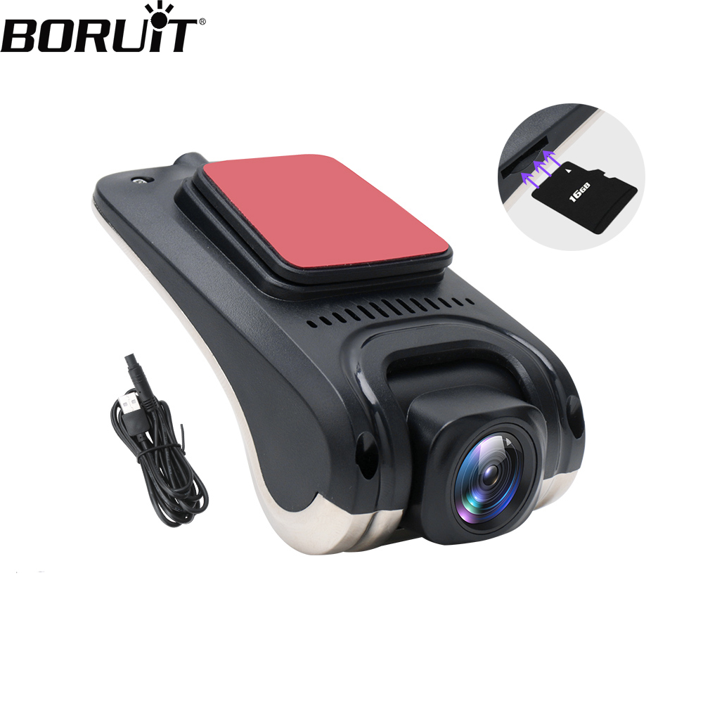 BORUiT USB ADAS Car DVR Camera Full HD 720P Driving Video Recorder Camera GPS Tracking Night Vision Dash Cam For Android System