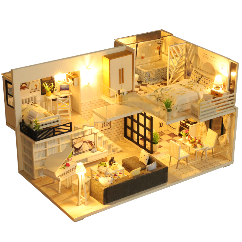 Doll House Furniture Wooden Miniature DIY Kit With Dust Cover Music Box Assemble Crafts Toy Best Birthday Gift For Children Girl