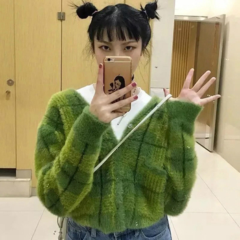 cut out v neckline knot front tee Harajuku Fuzzy Green Plaid Cardigan featuring a V-neckline With Front Button Women Cropped Cardigan Sweater winter clothes women