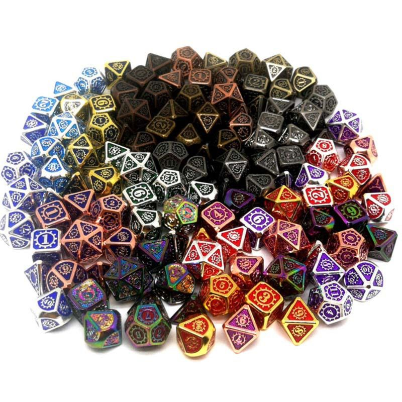 New <font><b>Metal</b></font> Dice 7pcs/set RPG Dice D&D Board Game Toy D4 D6 D8 D10 D12 <font><b>D20</b></font> Magic Props Polyhedral Dice image
