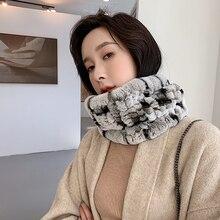 YCFUR Real Fur Ring Scarf for Women Quality Furry Rex Rabbit Fur Scarves Shawls Female Super Elastic Scarf Cape Winter