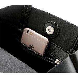 Image 3 - 2020新ファッション女性革ハンドバッグショルダーバッグ黒大容量の高級トートバッグデザイン因果バケット高品質