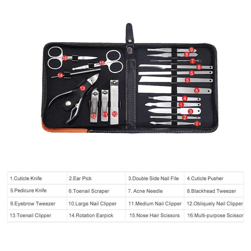 Di lusso Insieme di Manicure Professionale 19/10 in 1 Cura delle unghie Pedicure Kit Acne Extractor Unghie artistiche Strumento Tagliatore Pinzette Strumento di Bellezza Regalo