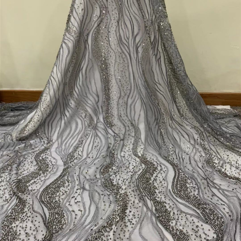 Black Gold French Sequins Tulle Lace Fabric 2020 High Quality African Sequins Lace Nigerian Lace Fabrics With Beads For Bridal