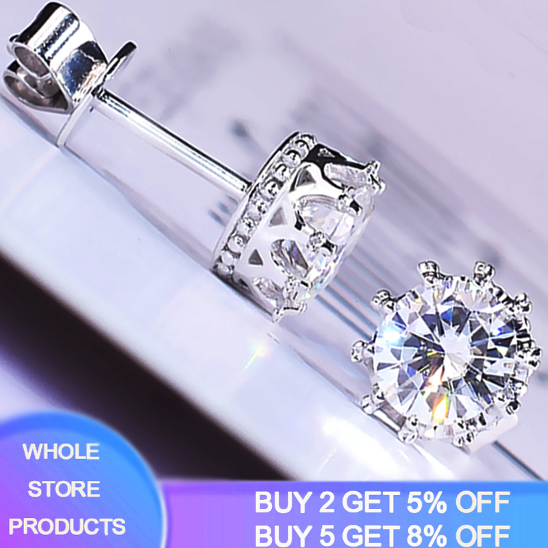 With Certificate 925 Solid Silver Solitaire Stud Earrings For Women Luxury 2.0ct SONA Diamond Wedding Earring Jewelry Accessory