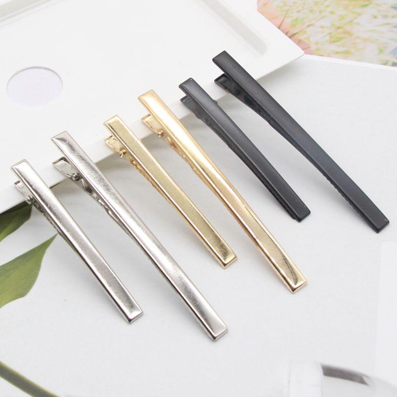 20 pces 0.6cm x 6cm,0.62cm x 8cm prata/ouro/preto metal plana clipes de cabelo superior, barrettes em branco, clipe de jacaré