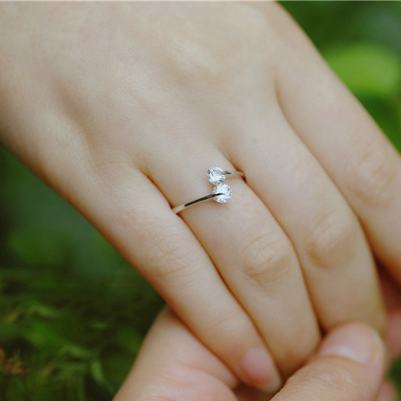 New 925 Sterling Silver Double Cubic Zircon Crystal Rings For Women Adjustable Size Rings Fashion Wedding Jewelry Anillos Mujer