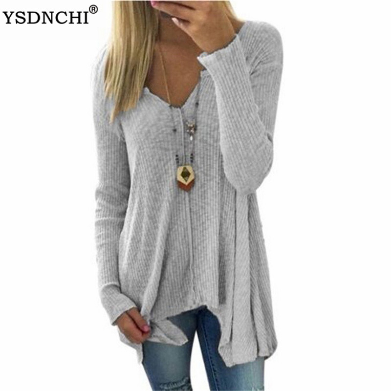 YSDNCHI New Women's Sweater 2020 Spring Fashion Knitted Sweaters Women Casual V-neck Long Sleeve 4XL Plus Size Pullovers 5XL