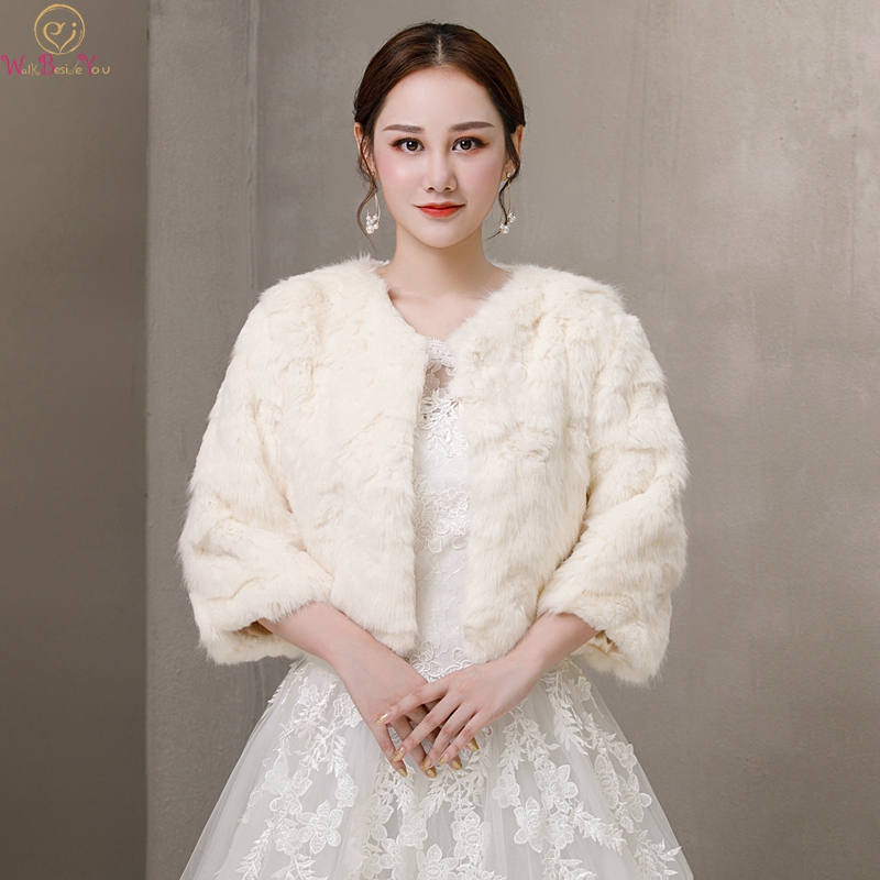 2019 Ivory Three Quarter Sleeve Formal Party Evening Jackets Wraps Faux Fur Wedding Capes Winter Women Bolero Shawls In Stock