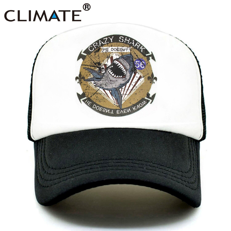 CLIMATE Crazy Shark Trucker Cap Seaside Beach Shark Crazy Baseball Caps Hat Surfing Summer Trucker Hip Hop Mesh Cap Hat For Men