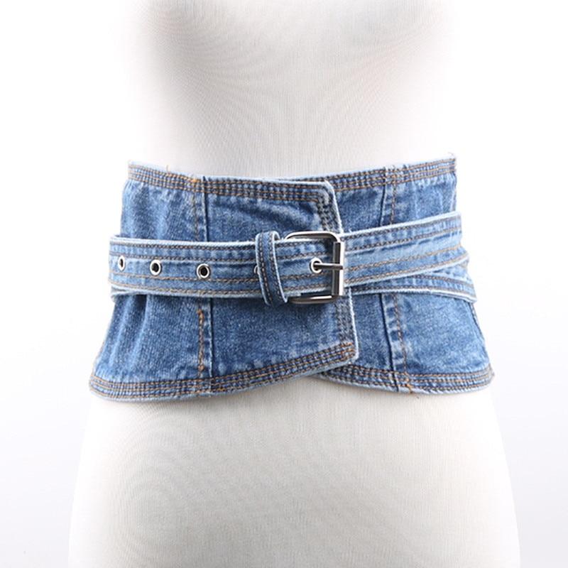 Denim Belt 2020 High Fashion Solid Wide Belt Stylish Trendy Corset Belt Waistband New Design Belts For Women Female Tide ZK813