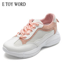 E TOY WORD Women Shoes 2019 Autumn New Casual Sports Mesh Flat Daddy Womans breathable white shoes women