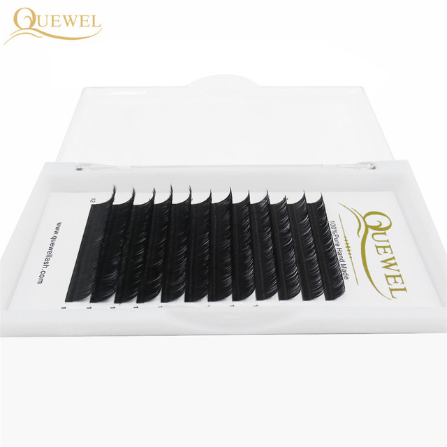 Quewel Eyelash Extension 12 Lines/Tray Silk Cilios Soft Professionals Individual Eye Lash Extensions C/CC/D Curl  False Lashes 1