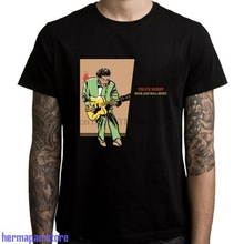 Chuck Berry Rock and Roll Music Legend Mens Black T-Shirt Size S to 3XL