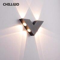 CHILLGIO lampade da parete per interni impermeabili a forma di V illuminazione in alluminio cortile dell'hotel decorazioni per la casa lampada da interno per esterni nordica