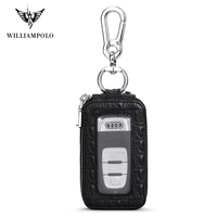 WILLIAMPOLO Vintage Leather Key Wallet Key chain Covers Zipper Key Case Bag Men Key Holder Organizer PL281
