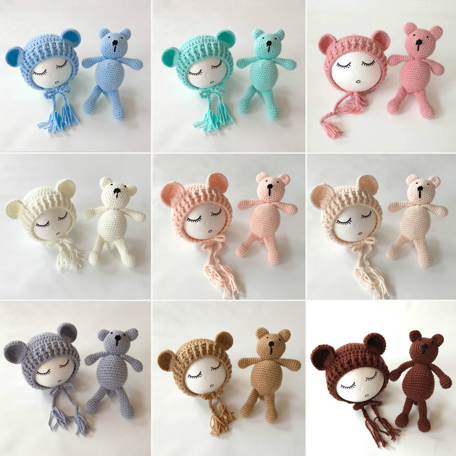 Newborn Photography Props Bears Ear Hat+Toys Set Handmade Knitting Baby Hats Caps Baby Photo Props Accessories Studio Fotografia