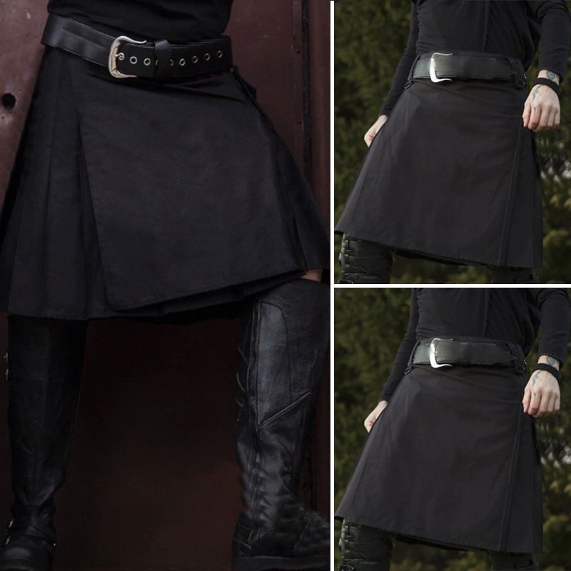 INCERUN 2020 Men Casual Skirt Pant Solid Color Punk Hip-hop Avant Garde Men Fashion Scotland Trousers Vintage Scottish Kilt 5XL