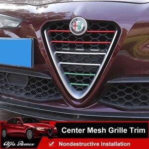QHCP Front Grille Trim Center Mesh Strip Sticker Cover CF Style Black Silver Italian Flag 3 colors For Alfa Romeo Giulia Stelvio