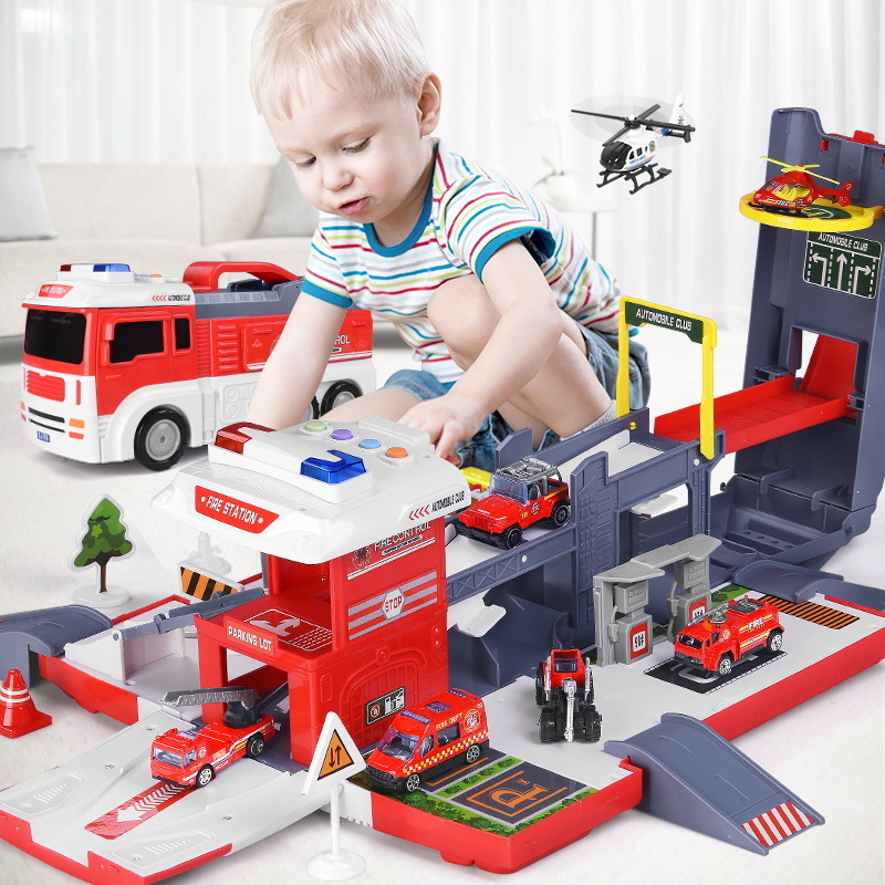 Large Size Container Truck Rail Car Racing Tracks Electronic Racing Car Toys Assemble Parking Lot Tracks for Children Gifts