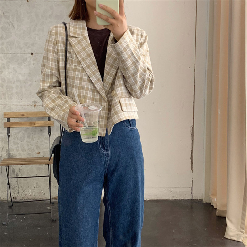 HziriP Leisure High Waist Women Plaid Loose Vintage 2020 Geometric All Match Brief Chic Office Lady Gentle Casual Woolen Blazers