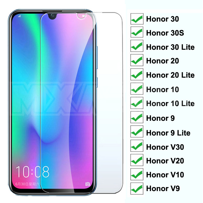 9H Tempered Glass on the For Huawei Honor <font><b>30</b></font> 20 <font><b>10</b></font> 9 Lite Glass Screen Protector Honor 30S V30 V20 V10 V9 Protective Glass Film image