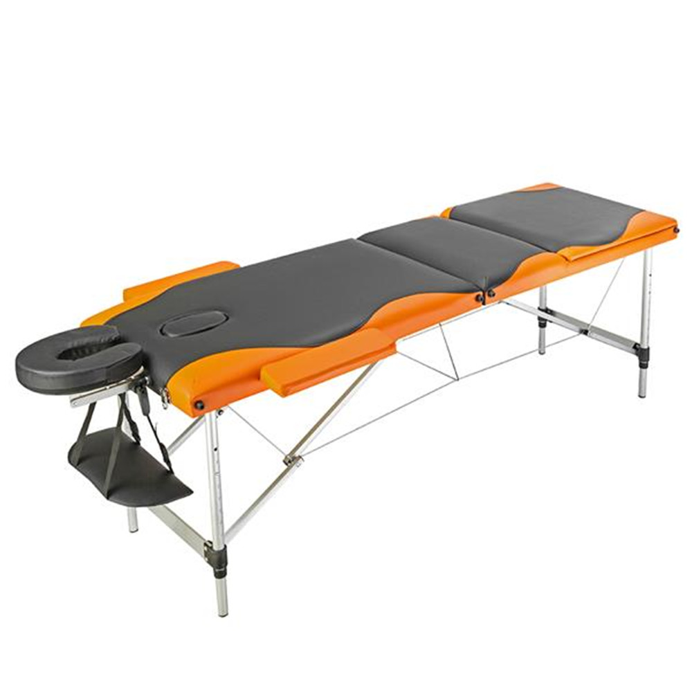 3 Sections Folding Portable Aluminum Foot Beauty Massage Table 60CM Wide Black & Orange Beauty Bed
