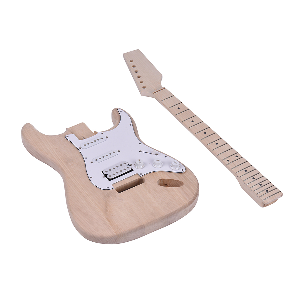 Electric Guitar Unfinished DIY Electric Guitar Kit Basswood Body Maple Neck Rosewood Fingerboard
