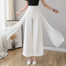 Women's Chiffon Pants Elegant Office Ladies White Black Trou