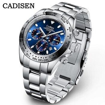 CADISEN New 2021 Automatic Machinery Men's Watches Luxury Ceramics Daytona Multi-function Watch Waterproof Wristwatch Mens Clock 1