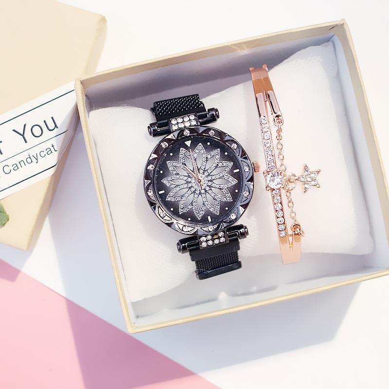 Women Black Flower Watches With Bracelet Set Stainless Steel Mesh Band Quartz Wristwatch Relogio Feminino Reloj Mujer 2020