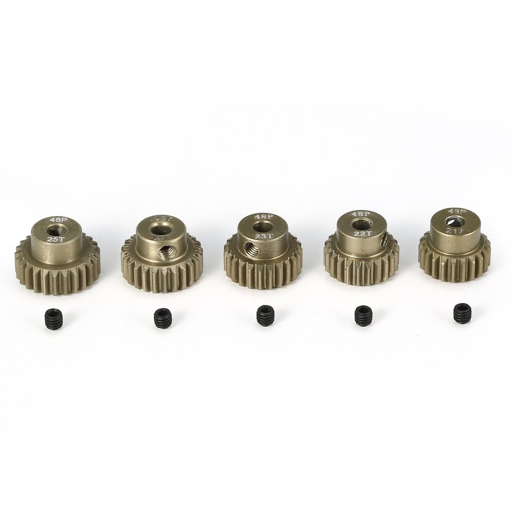 Surpass-hobby 48DP 5Pcs 3.175mm 21T 22T 23T 24T 25T Metal Pinion <font><b>Motor</b></font> <font><b>Gear</b></font> Combo Set for 1/10 <font><b>RC</b></font> Car Brushed <font><b>Brushless</b></font> <font><b>Motor</b></font> image